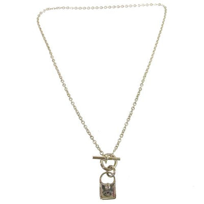 HERMES Silver Chain Evelyne Bag Motif Pendant Necklace