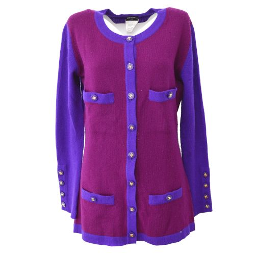 CHANEL CC Logos Long Sleeve Cardigan Tops Purple 95A