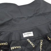 CHANEL Quilted CC Long Sleeve Zip up Coat Jacket Black