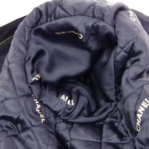 CHANEL CC Logos Long Sleeve Coat Jacket Navy