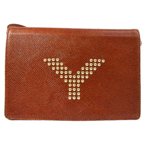 Yves Saint Laurent Studs Cross Body Shoulder Bag Brown