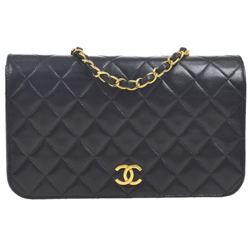 CHANEL Quilted Classic Single Flap Small Shoulder Bag Black