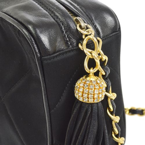 CHANEL Quilted Rhinestone Fringe Chain Shoulder Bag