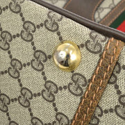 GUCCI Shelly Line GG Travel Hand Bag Brown