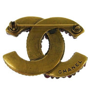 CHANEL CC Stone Brooch Pin Gold Corsage 00A