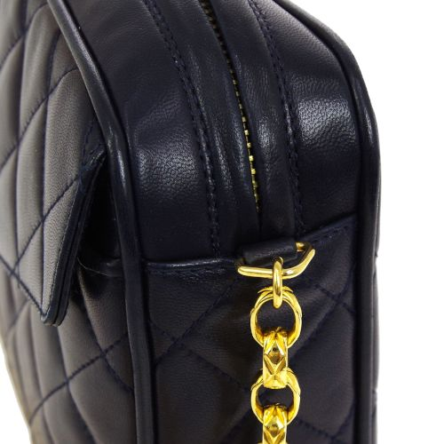 CHANEL Quilted Fringe CC Single Chain Shoulder Bag Navy