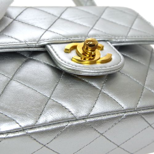 CHANEL Quilted CC Logos Mini Hand Bag Silver