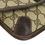 GUCCI GG Shelly Line Mini Clutch Hand Bag Pouch Brown