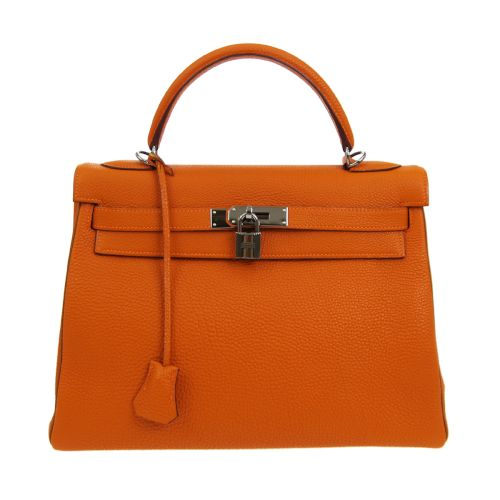 HERMES KELLY 32 RETOURNE 2way Hand Bag Orange Veau Crispe Togo