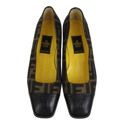 FENDI Zucca Pattern Pumps Shoes Brown