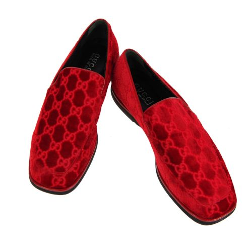 GUCCI GG Pattern Loafer Shoes Red