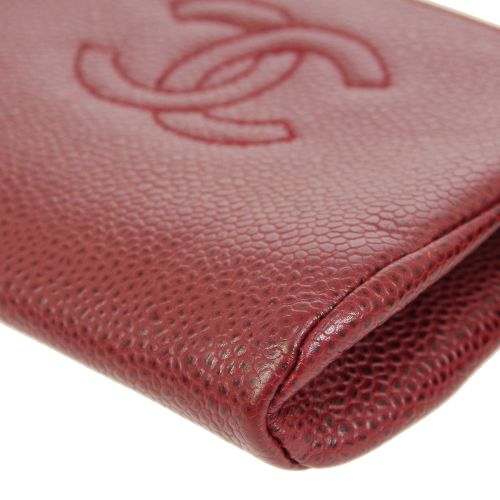 CHANEL CC Logos Zipped Coin Purse Red