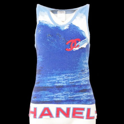 CHANEL Surf Line CC Logos Sleeveless Tops Blue 02S