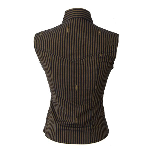 FENDI Pequin Pattern Sleeveless Tops Brown