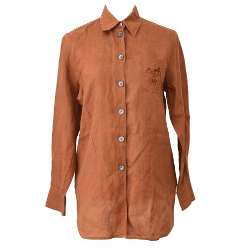 HERMES Long Sleeve Tops Shirts Brown