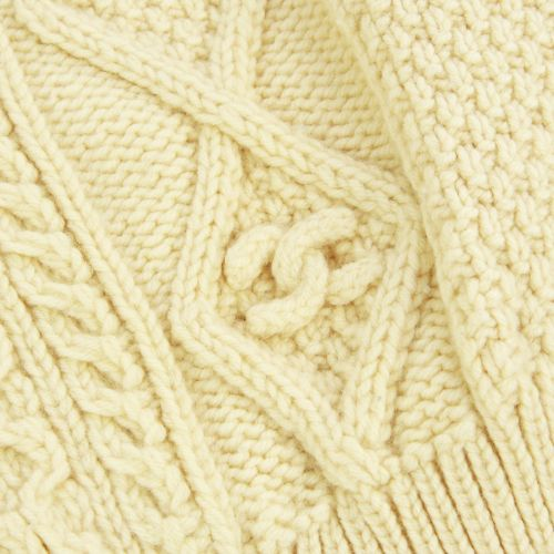CHANEL Long Sleeve Cable Knit Sweater Beige 96A