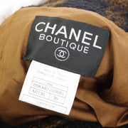 CHANEL CC Long Sleeve Jacket Coat Brown Black