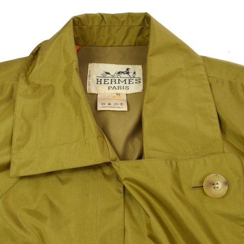 HERMES Long Sleeve Rain Coat Jacket Khaki