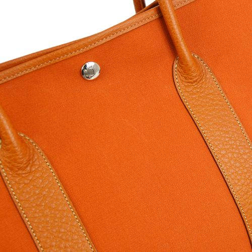 HERMES GARDEN PARTY 36 Hand Tote Bag Orange Military Negondaa