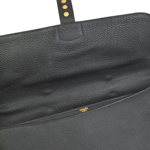 HERMES Sac A Depeche 38 Briefcase Hand Bag Black Togo