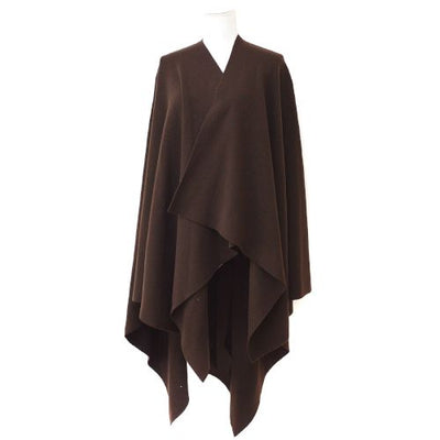 CHANEL Long Sleeve Poncho Coat Brown