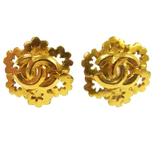 CHANEL CC Logos Earrings Clip-On Gold 96P