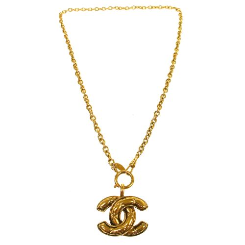 CHANEL CC Logos Gold Chain Pendant Necklace