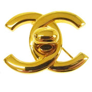 CHANEL CC Logos Turnlock Brooch Pin Corsage Gold