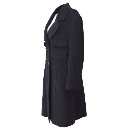CHANEL CC Button Long Sleeve Coat Jacket Black