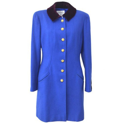 CHANEL CC Logos Button Long Sleeve Coat Jacket Blue