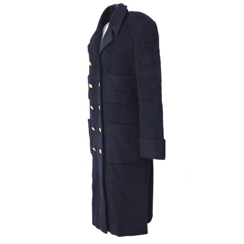 CHANEL Long Sleeve Coat Jacket Navy