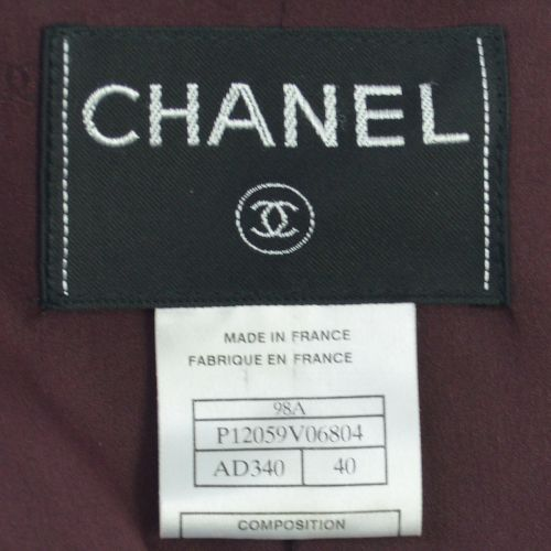 CHANEL CC Logos Button Long Sleeve Jacket Bordeaux