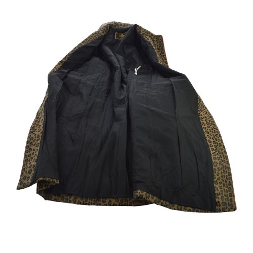FENDI Leopard Pattern Long Sleeve Jacket Brown