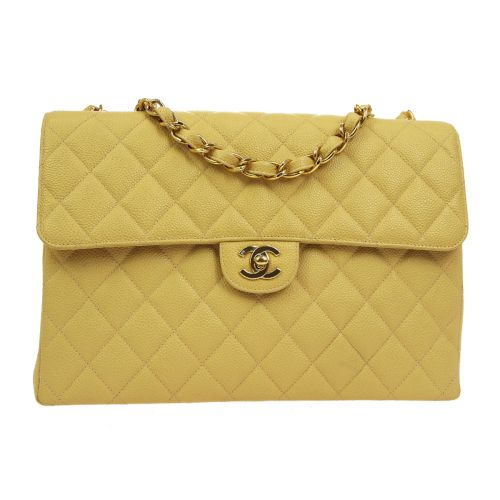 CHANEL Quilted Classic Flap Jumbo Shoulder Bag Beige Caviar