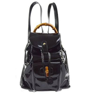 GUCCI Bamboo Line Backpack Hand Bag Black