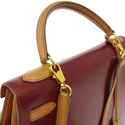 HERMES KELLY 32 SELLIER 2way Hand Bag Tri-color Box Calf