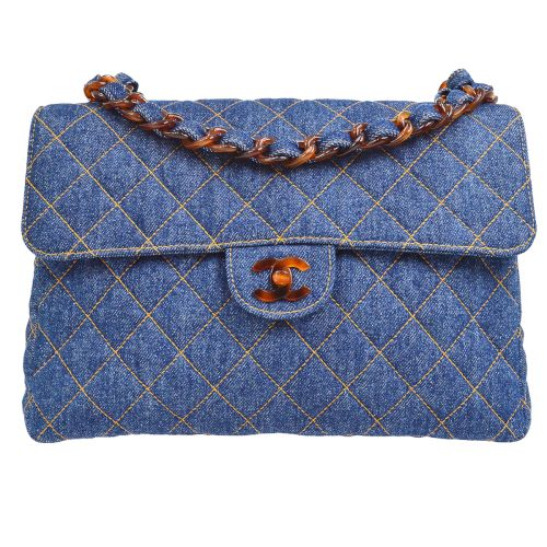 CHANEL Quilted Tortoiseshell Classic Flap Jumbo Shoulder Bag Denim