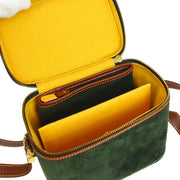 LOEWE Vanity Shoulder Bag Green Brown Nubuck