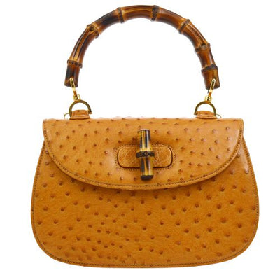GUCCI Bamboo Line 2way Hand Bag Brown