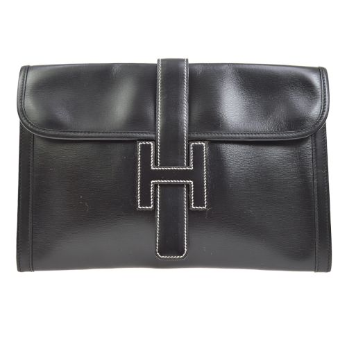 HERMES JIGE PM H Logos Clutch Bag Black Box Calf