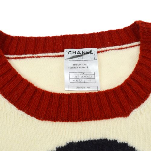 CHANEL Long Sleeve Penguin Knit Sweater Ivory Red 07A