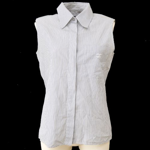 CHANEL Stripe Sleeveless Tops Gray White