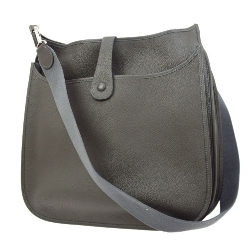 HERMES EVELYNE 2 TGM Shoulder Bag Gray Taurillon Clemence