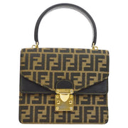 FENDI Zucca Pattern Double Flap 2way Hand Bag Brown