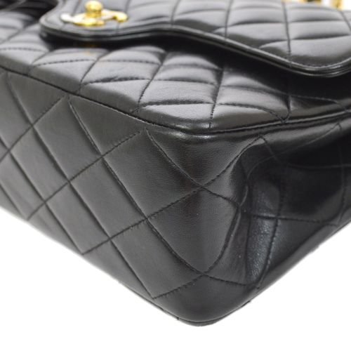 CHANEL Quilted Paris Limited Classic Double Flap Medium Shoulder Bag Black