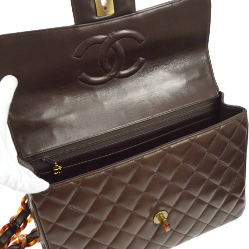 CHANEL Quilted Tortoiseshell Classic Flap Jumbo Shoulder Bag Brown