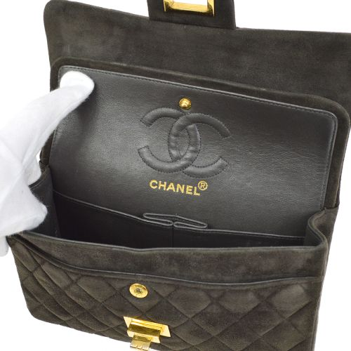CHANEL 2.55 Line Quilted Classic Double Flap Small Shoulder Bag Khaki Suede