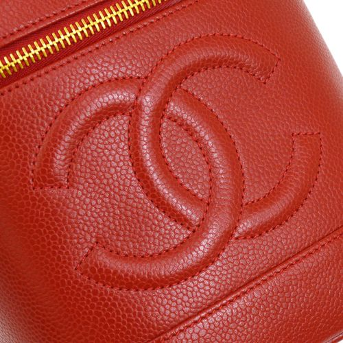 CHANEL Vanity Hand Bag Red