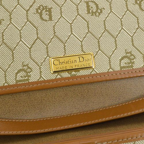 Christian Dior Honeycomb Chain Shoulder Bag Brown