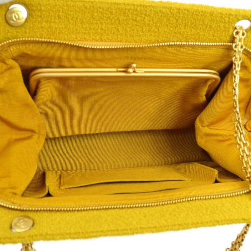 CHANEL V Stitch CC Double Chain Shoulder Bag Ocher